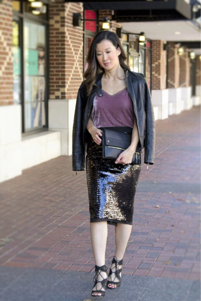 Chic Holiday Style Sequin Skirt Velvet Crush A Beautiful Rawr