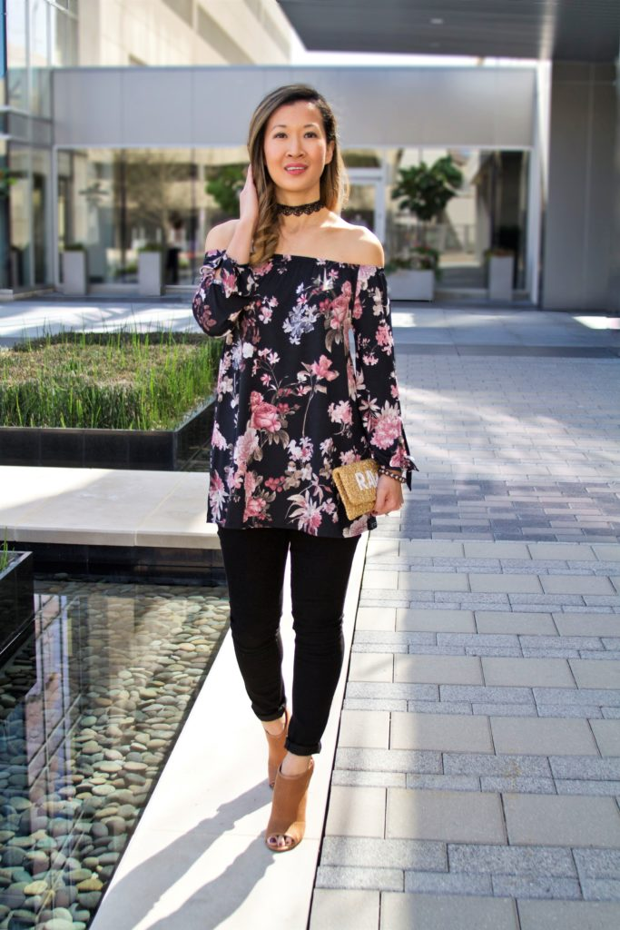 Pretty Floral Print Off the Shoulder Top