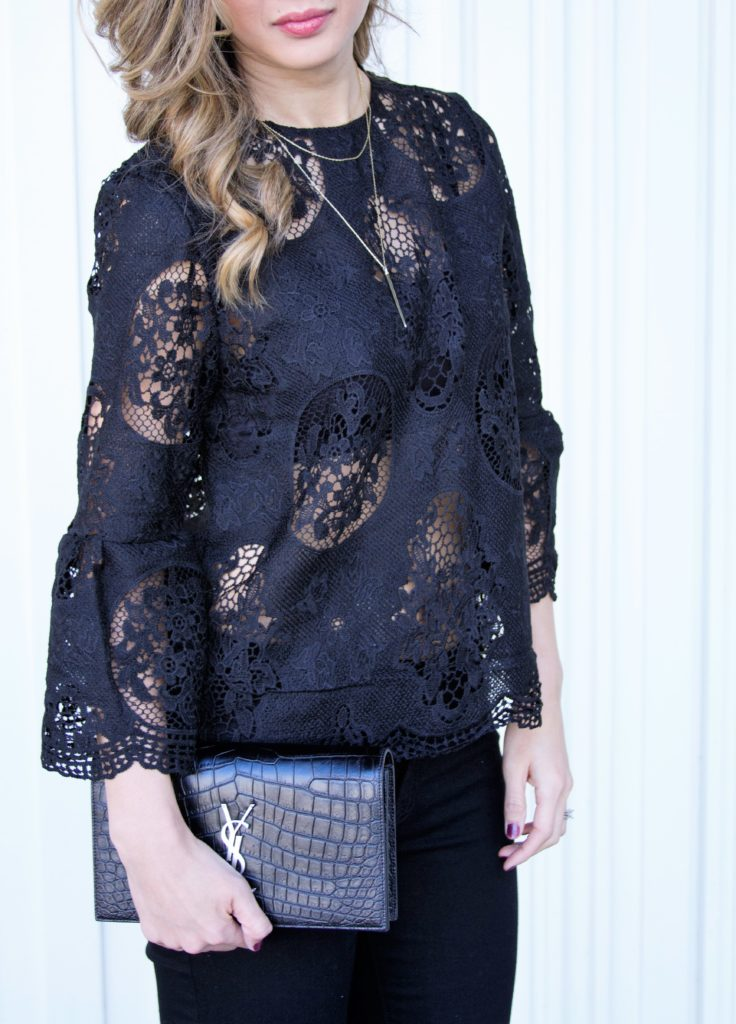 Black Bell Sleeve Lace Top