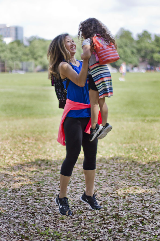 mommy daughter park date athleisure style
