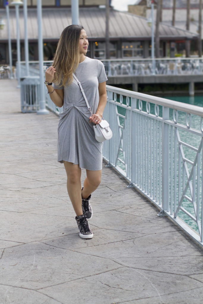 Grey Dress and Sneakers